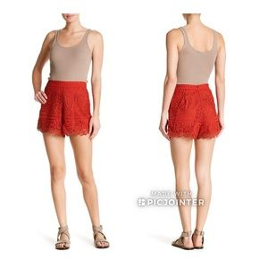 Lovers + Friends Lace Shorts Red S Small